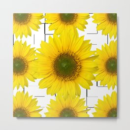 Sunflowers on a squar pattern white background #decor #society6 Metal Print