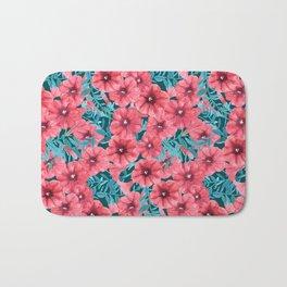 Red watercolor petunia flower pattern Bath Mat
