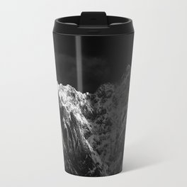 Sunlight hitting the mountains black and white Travel Mug