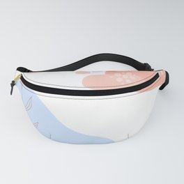 Abstract Shapes & Leaves in Coral Fanny Pack