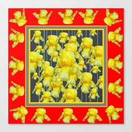 CLASSY RED-GREY YELLOW IRIS ABUNDANCE Canvas Print