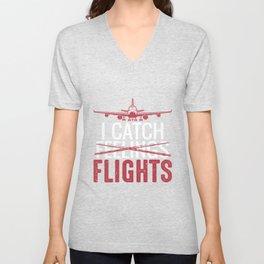 Funny Retro Vintage Flight Attendant Girl Unisex V-Neck