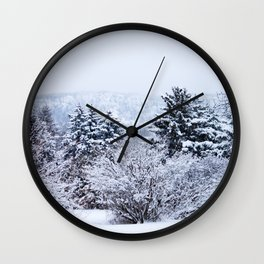 View of Mt. Tom through the snow Wall Clock