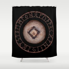 Ingwaz Elder Futhark Rune Male fertility, gestation, internal growth. Common virtues, common sense Shower Curtain