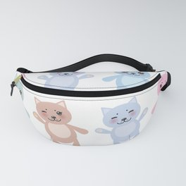 funny cats, pastel colors on white background Fanny Pack
