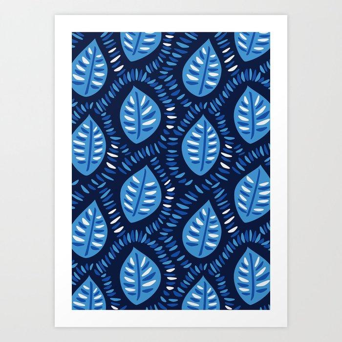 Beautiful Decorative Blue Leaves Pattern Art Print