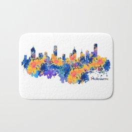 Melbourne Watercolor Skyline Bath Mat