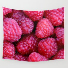 Pile of pink raspberries on fruit market - background Wall Tapestry