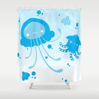 dumbo Shower Curtains featuring Kawaii Pastellyfish Jellyfish and Dumbo Octopus by KawaiiMachine