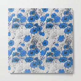 black white blue splash flowers Metal Print