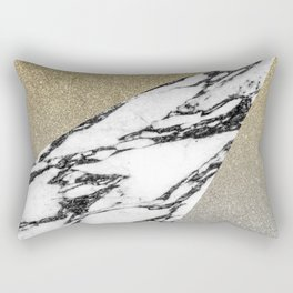 Silver Gold Glitter and Marble Geometric Pattern Rectangular Pillow