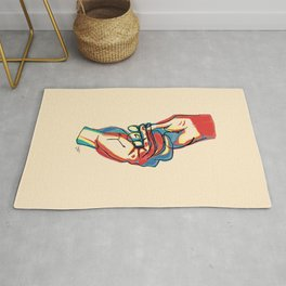 Couple Holding Hands - Colorful Contour Line Drawing Rug