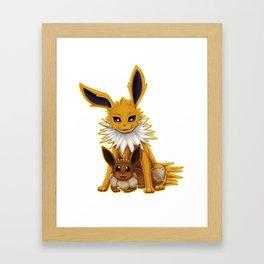 Jolteon and Eevee Pup Framed Art Print