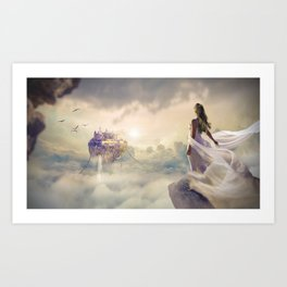 Magical Bride Wedding Fantasy Castle Art Print