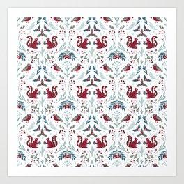 Winter flora and fauna / light pattern Art Print