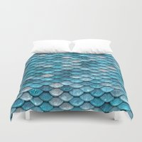 lesbian Duvet Covers featuring light turquoise sparkling scales by Better HOME