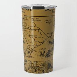 Vintage Map of The Carolinas (1912) - Tan Travel Mug