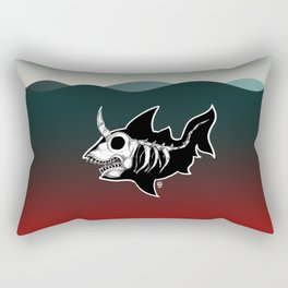 Dark Unicorn Shark Skeleton Rectangular Pillow