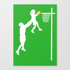 Father and daughter playing basketball Canvas Print