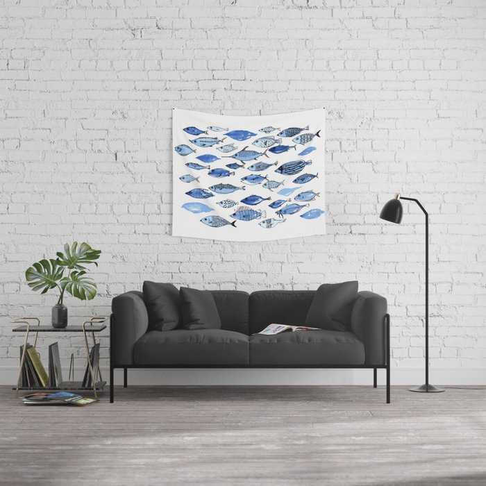 Aquarium blue fishes Wall Tapestry