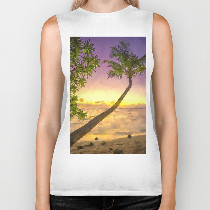 Tropical sunset beach with palms Biker Tank
