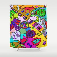 religion Shower Curtains featuring Science Verses Religion by Linda Tomei