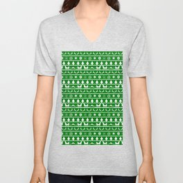 Green & White Nordic Ugly Sweater Christmas Pattern Unisex V-Neck