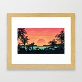 Tropical Beach Dawn illustration Framed Art Print