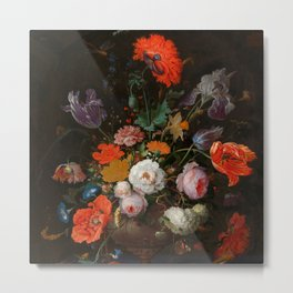 """Abraham Mignon """"Still Life with Flowers and a Watch"""" Metal Print"""