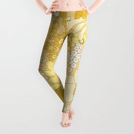 Yellow, Ivory & Brown Retro Floral Pattern Leggings