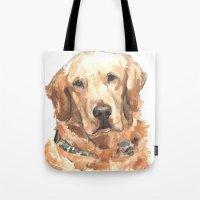 golden retriever Tote Bags featuring Golden Retriever  by ali_grace_gal