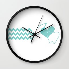 I (heart) Tooth (chevron) Wall Clock