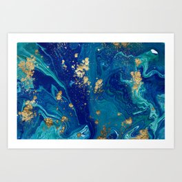 Blue & Gold Liquid Marble Art Print