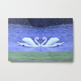 Swans in Love-light Metal Print