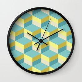 Lemony 3D cubes optical art pattern Wall Clock