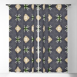 Koko beige and black with white marks pattern Blackout Curtain