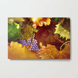 Autumn Leaves on Abstract Mosaic Metal Print