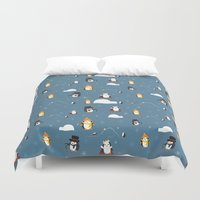 penguins Duvet Covers featuring Penguins by S. Vaeth