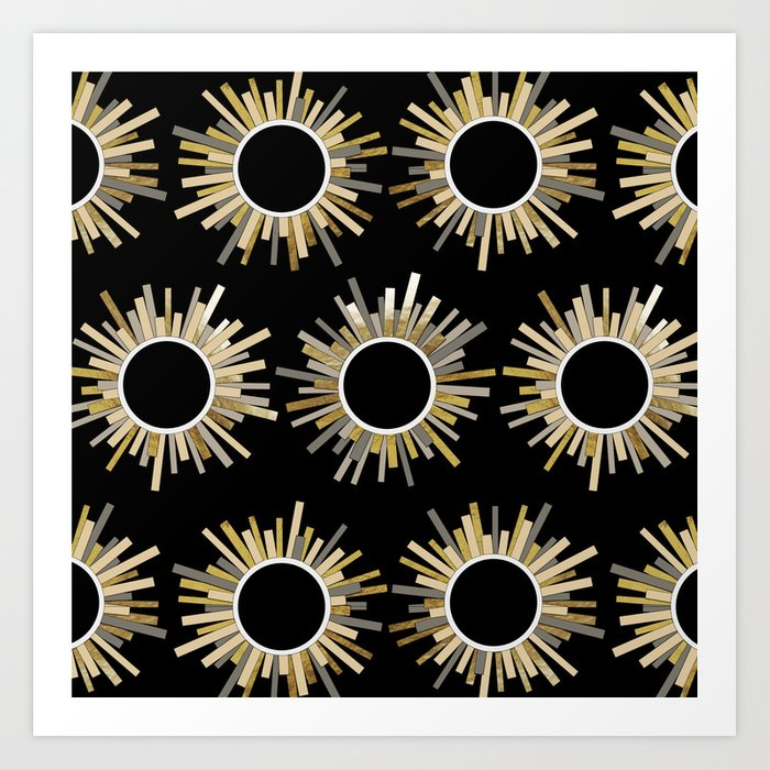 Art Deco Starburst in Black Art Print