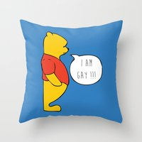 winnie the pooh Throw Pillows featuring WINNIE THE POOH by DrakenStuff+