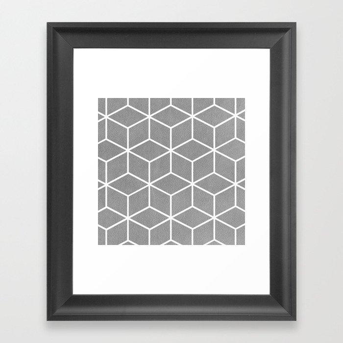 Light Grey and White - Geometric Textured Cube Design Gerahmter Kunstdruck