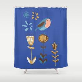 hygge blue bird Shower Curtain