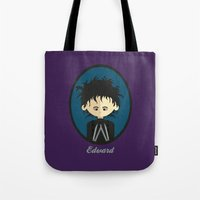 edward scissorhands Tote Bags featuring Edward Scissorhands by Juliana Motzko