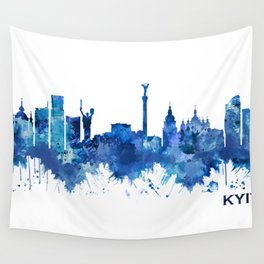 Kyiv Ukraine Skyline Blue Wall Tapestry