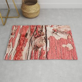 Impressive Old, Grunge Wooden Surface Painted Red Long Ago Rug