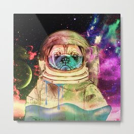 Astronaut Pug COLOR Metal Print