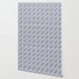 Modern Line Art Pattern in Dark Slate Blue and White Wallpaper