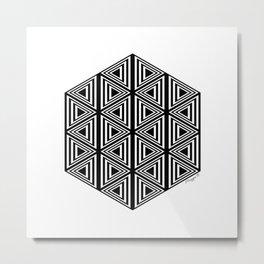 #2 Geometric Triangles Black And White Metal Print