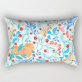 Good Fortune Asian Floral Pattern With Orange Blossoms Rectangular Pillow