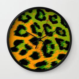 Gold and Apple Green Leopard Spots Wall Clock